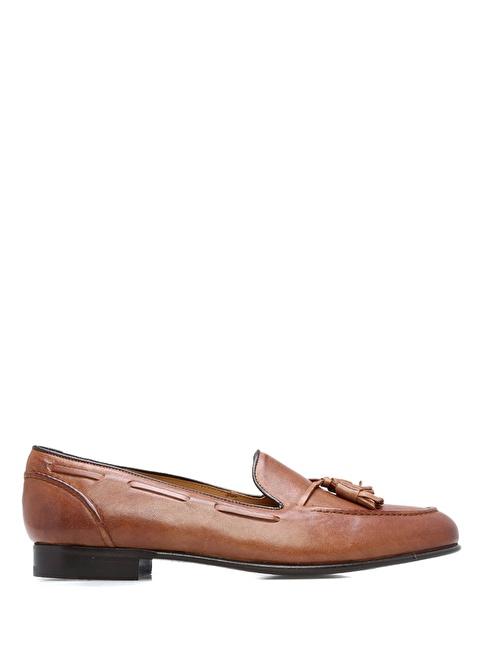 Bow Tie %100 Deri Loafer Ayakkabı Kahve